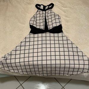 Black and white Halter Skater dress